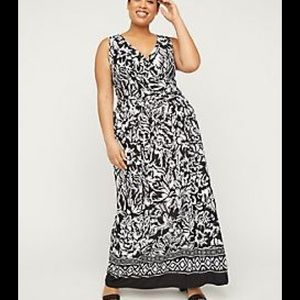 CATHERINE Faux Wrap Black white florals maxi dress